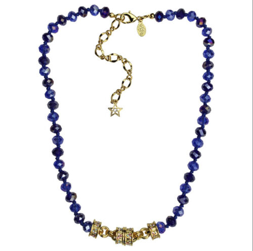 KIRKS FOLLY BLUE HEAVEN BEADED MAGNETIC NECKLACE  goldtone