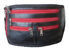 2ab0bb049b85d9 Black Leather Bumbag Flat Money Belt Bag Holiday Travel Bumbags Bags  Festival