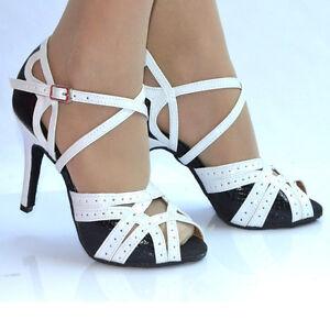 Image is loading Zapato-de-Mujer-Blanco-y-Negro-Fiesta-Baile- 9e9f77d075f4