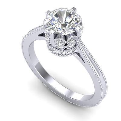 3008. 1.5 CTW VS/SI DIAMOND BRIDAL ART DECO RING 18K Gold - REF#-399R3H Lot 3008