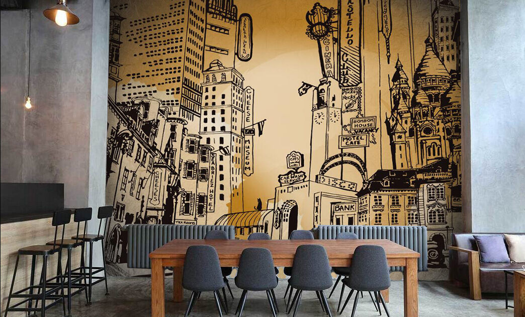 3D city  Sketch drawing art Wall Paper Print Decal Wall Deco Indoor wall Mural