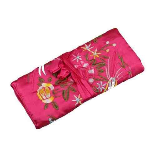 Chinese Silk Jewellery Jewelry Travel Roll Wrap Rolls Wraps  Storage Organizer