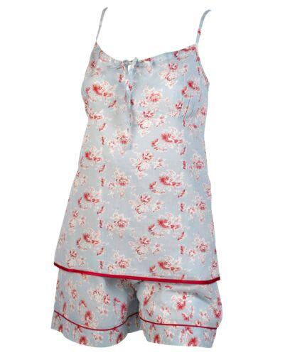 Ladies Vintage Floral Pyjamas 100/% Combed Cotton Womens Cami /& Shorts PJs Set