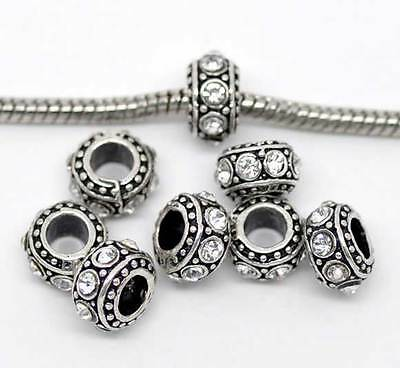 1PC JM Silver Tone European Charm Spacer Beads Fit Charm Bracelet CZ Crystal New