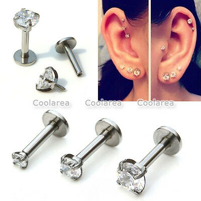 Stainless Steel CZ Gem Crystal Labret Cartilage Monroe Lip Ring Tragus Earring