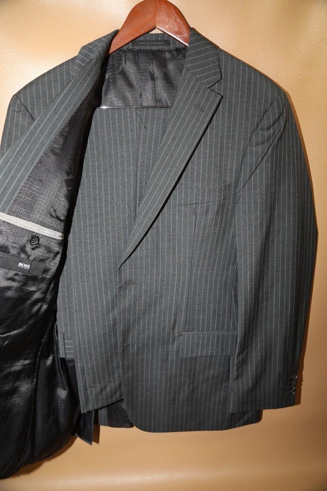 135 HUGO BOSS grau Pasini2/Movie2 Two Button Striped Suit Größe 40 R