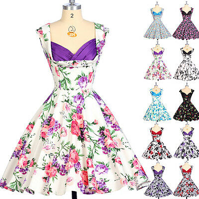 Housewife Vintage Retro Style 50s Pinup Swing Formal Party Prom Dress