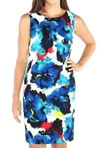 Mario-Serrani-Women-Stretch-Shift-Dress-Sleeveless-Blue-White-4-6-8-14-NWT