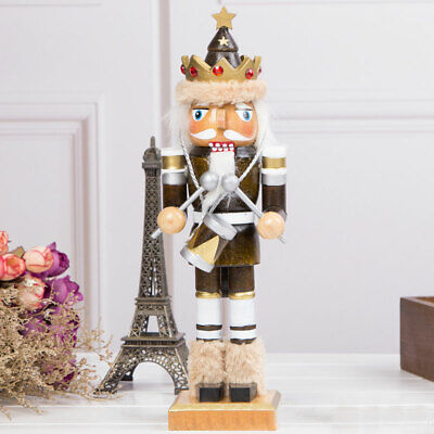 Drummer Wooden Nutcracker Coffee Walnut Soldier Christmas Ornament Gift Decor