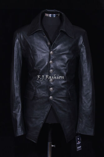 Lucifer Black Men/'s New Smart Designer Real Lambskin Leather Blazer Shirt Jacket