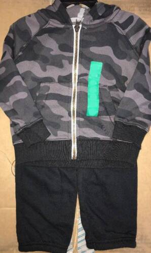 NEW Carters Boys 2pc Outfit Set Camo Hooded Jacket /& Sweat Pants Size 18m