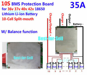 10S Cells W//Balancing Li-ion Lithium 18650 Battery BMS Protection Board  36V 30A