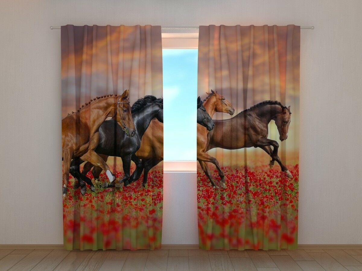 Curtain with Print Print Print Horses in the Poppies Field Wellmira Ready Made 3D Bedroom cb7142