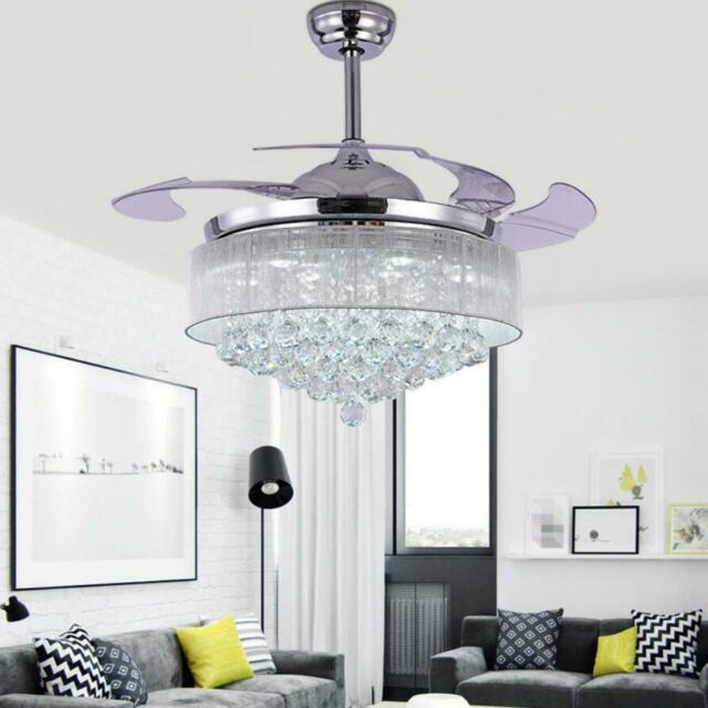 "42"" LED 36w Chandelier Crystal Living Room Invisible Ceiling Fan Light w/ Remote"
