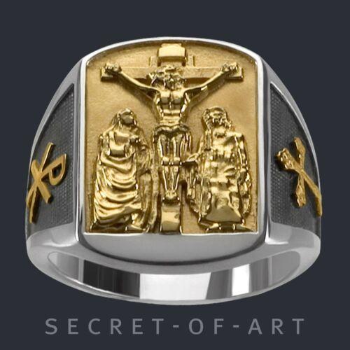 Jesus Ring Silber 925 Kreuz Maria Johannes Kruzifix Kreuzigung 24KGold-Plattiert