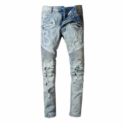 New Men Classic Blue Hole knee fold Slim jeans pants 979