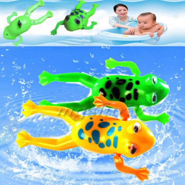 Wind-up Frog Swimming Pool Bath Time Animal Clockwork Floating Kid Baby Toy EW