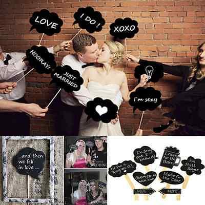 DIY 10 pcs Photo Booth Prop Wedding Birthday Party Black Card Chalkboard Stick