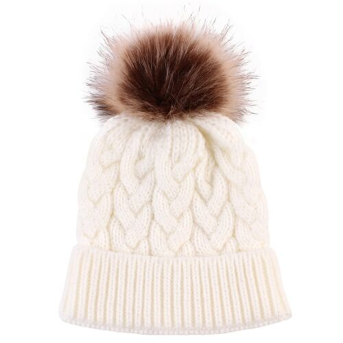 Kids Baby Warm Knit Beanie Hat Boys Girls Faux Fur Pom Bobble Cap Winter New