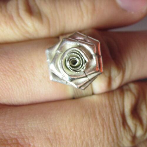 Fine Silver Rings Hill tribe Karen Argento Anello Rose Flower Flora Rosa L06