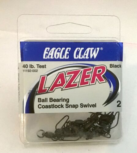 Details about  /12 Eagle Claw Black Ball Bearing Costlock snap Swivels  40lb  Sz 2