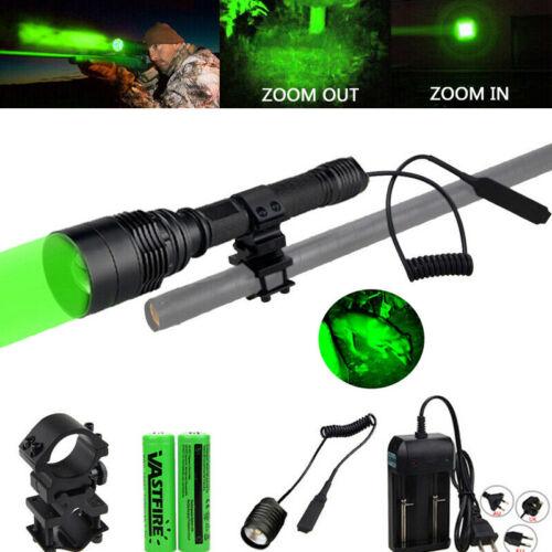 Zoom 150 Yards Green LED Coyote Predator Hunting Flashlight Light Torch Hog Fox