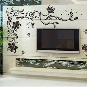 Details Sur Sticker Mural Decoration Fleur Noire Decoration Murale Decoration Salon Yjfr