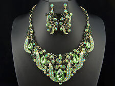 New Green Bridal Wedding Prom Party Rhinestone Jewelry Necklace Earrings Set