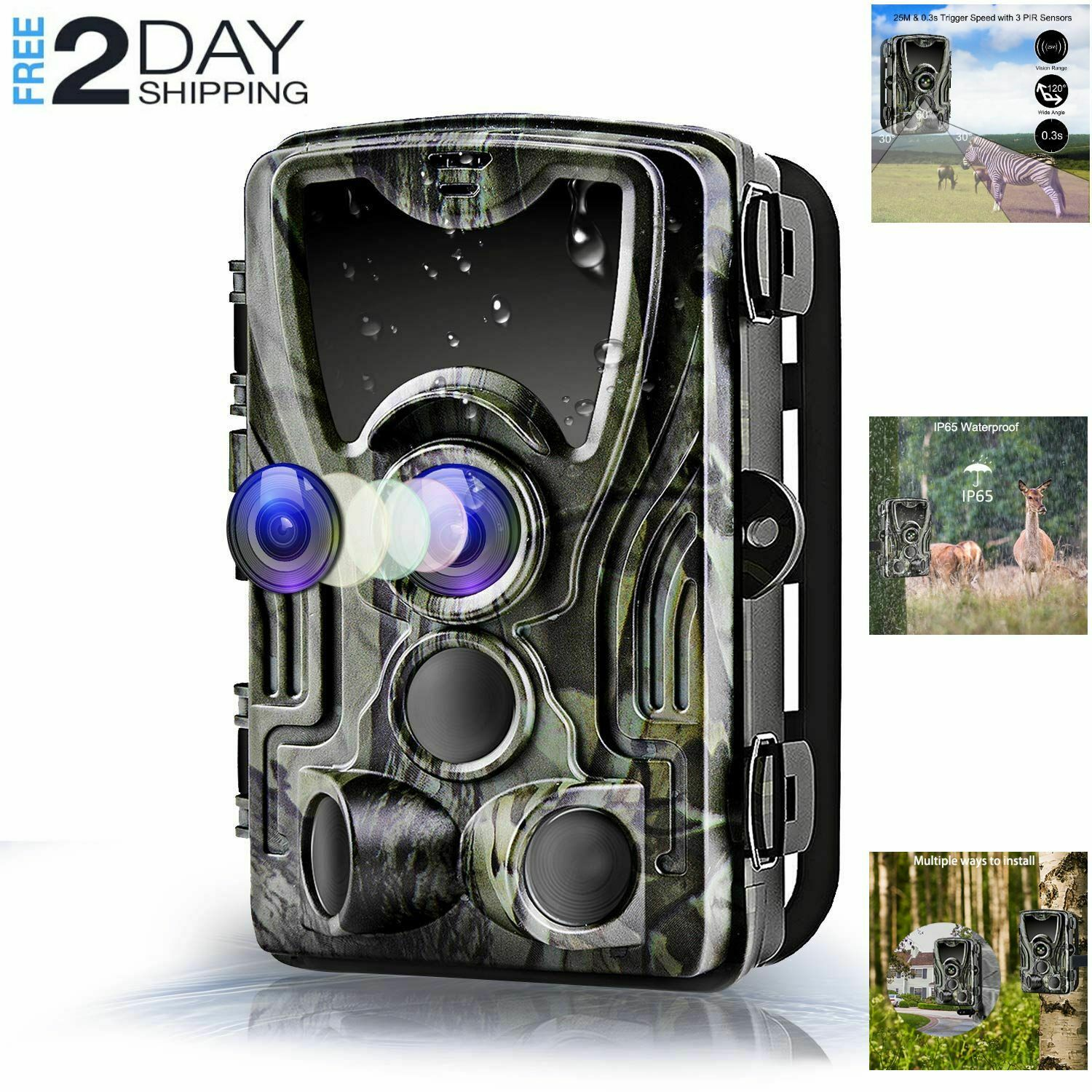 Trail Camera 16MP 1080P Game  Camera Night Vision 82ft, 0.3s Trigger Waterproof  up to 42% off