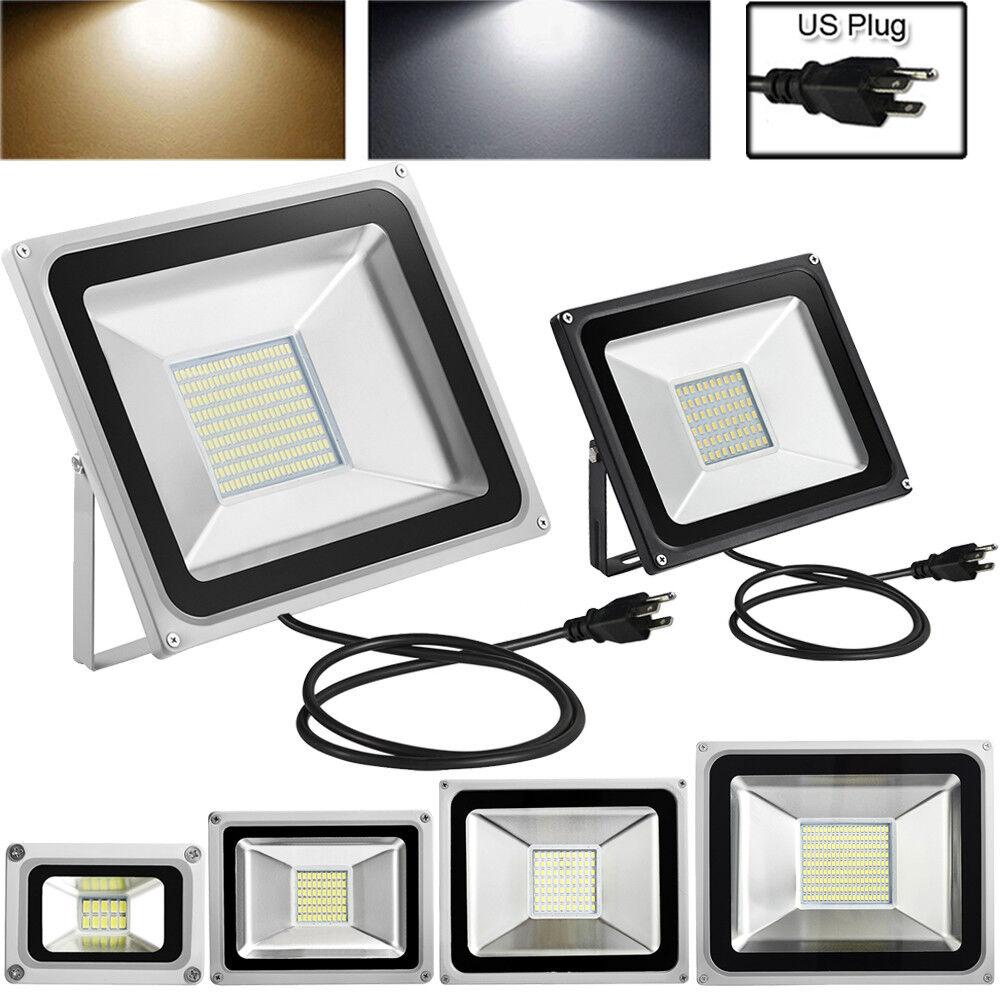 10W 20W 30W 50W 100W LED Flood Light w// US Plug Outdoor Spotlight Landscape Lamp