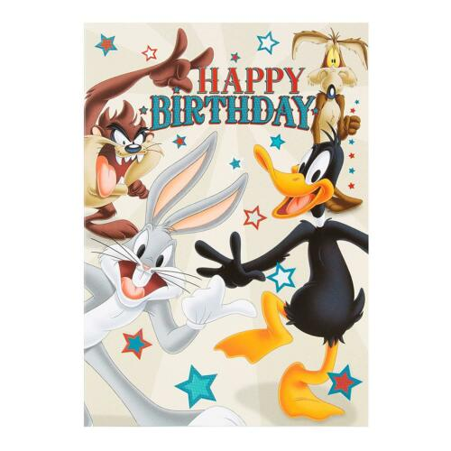 Hallmark Looney Tunes Carte d/'anniversaire avec enveloppe-Bugs Bunny daffy duck taz