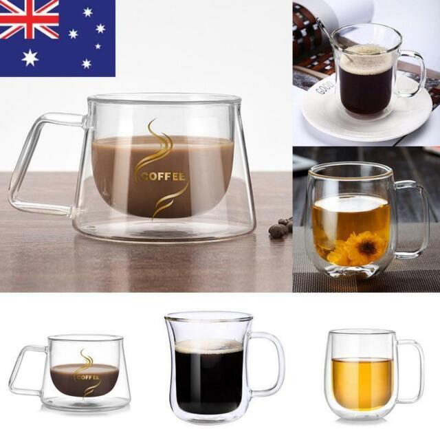 NEW Coffee Mug Double Wall Glass Thermal Insulated Tea Mug Cup with Handle AU