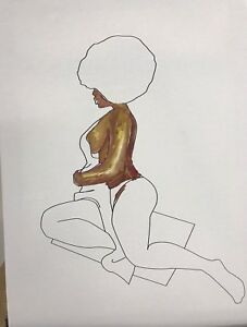 Paint Party Canvas - Afro Nude Lady  - Unpainted Canvas Only