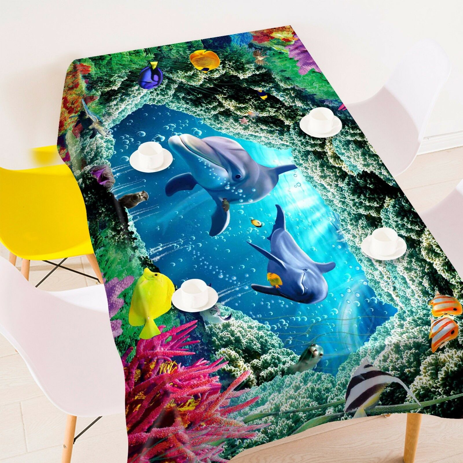 3D Dolphin 908 Tablecloth Table Cover Cloth Birthday Party Event AJ WALLPAPER AU