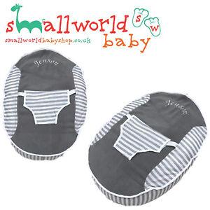 Personalised-Boys-Girls-Grey-Fleece-Grey-Stripe-Baby-Bean-Bag-NEXT-DAY-DISPATCH