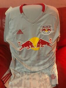 Details about Adidas New York Red Bull Soccer Jersey Grey Red MLS Nwt Mens Size XL