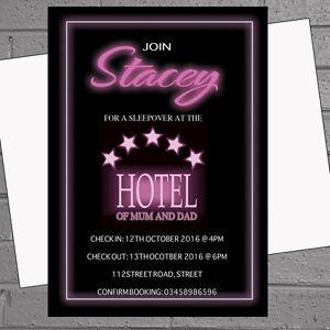 Girls Sleepover Pyjama Kids Birthday Party Invitations X 12 Hotel