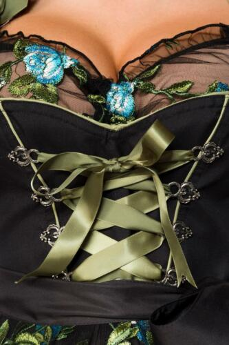 70047 edles Dirndl /& Spitzen-Bluse Schürze 3-tlg S-3XL Oktoberfest Trachtenkleid