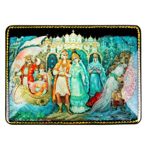 "4x6/"" Lacquer Trinket Box with Pushkin Russian Fairy Tale of Tsar Saltan Artwork"