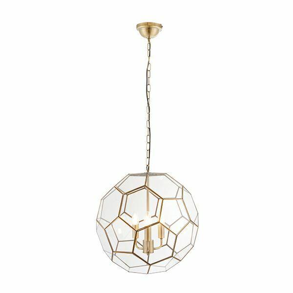 Miele 3Lt Pendant Light Ceiling Light 40W Modern Round Light With Antique Brass