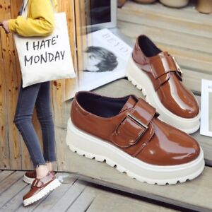 New-Ladies-Round-Toe-Buckle-Oxfords-Chunky-Platform-Heels-Creepers-Shoes-Size-8