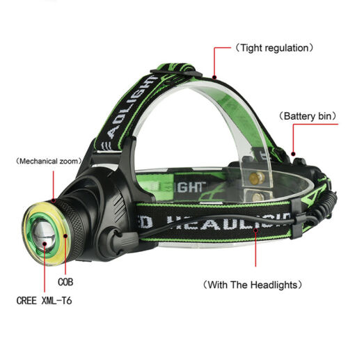 Rechargeable XML-T6+COB Headlamp 18650 Headlight Head Lamp Torch UV
