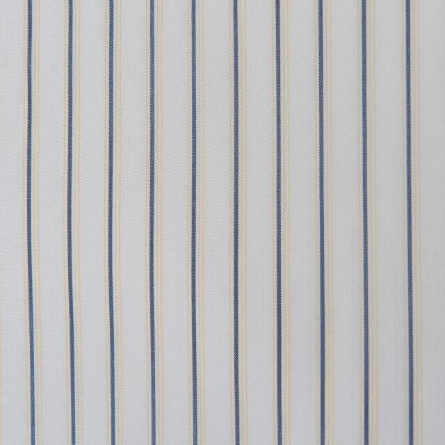 Gardine Deko STOFF VISKOSE METERWARE blau gelb weiss streifen ab 1 m NEU