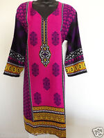 Womens Indian Kurti/tunic/kurta Crepe Blouse Printed Top Long Sleeves