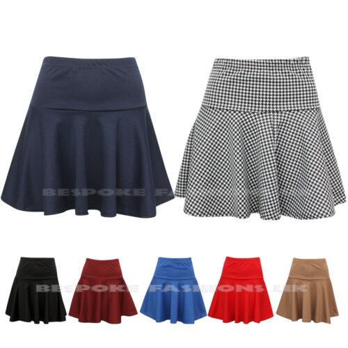 Ladies Womens Plain Dogtooth Skater Peplum Frill Party Short Mini Skirt 8-14