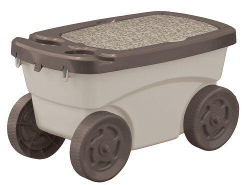 Suncast Garden Scooter Portable Wagon Storage Bench Yard Work Outdoor  Gardening | EBay