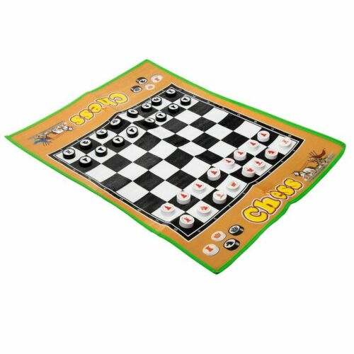 """Giant Chessboard w// Chess Pieces for Fun /& Party 34 x 26/"""" Jumbo Chess Carpet"""