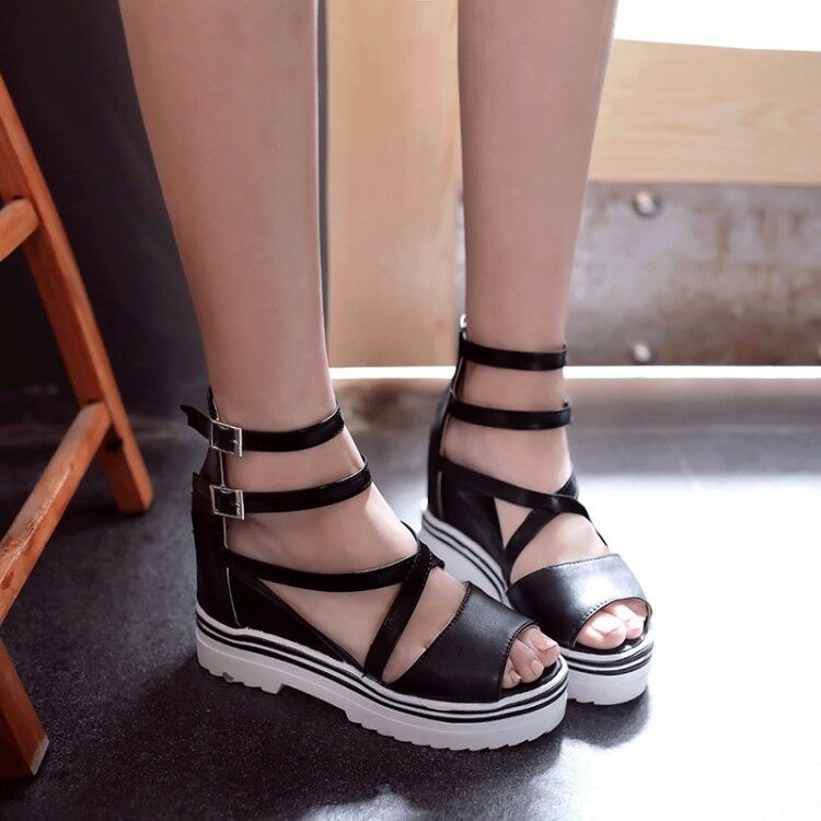 Women Wedges Middle Heel Platform Sandals Open Toe Chunky Ankle Strap shoes Size