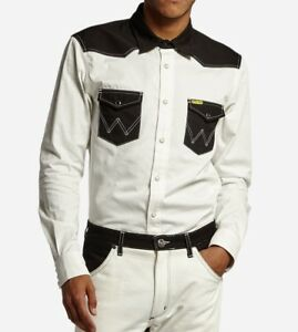 NEW-MEN-039-S-WRANGLER-by-PETER-MAX-SLIM-WESTERN-SHIRT-BLACK-WHITE-VINTAGE-S-M-L-XL