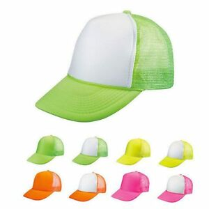 71a2605f3a6 Details about 100 Lot Blank Neon Foam Mesh Trucker Hats Caps Solid Two Tone  Wholesale Bulk